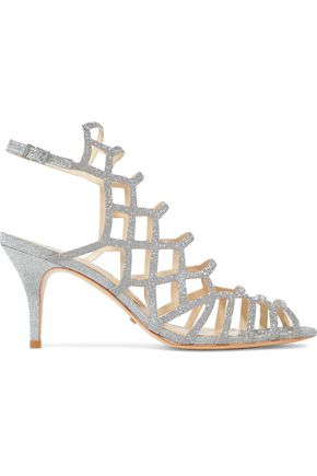SCHUTZ Morley cutout glittered leather sandals