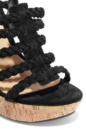 SCHUTZ Braided faux suede and cork wedge sandals