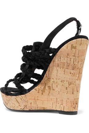 4e7713760e1 Braided faux suede and cork wedge sandals | SCHUTZ | Sale up to 70 ...