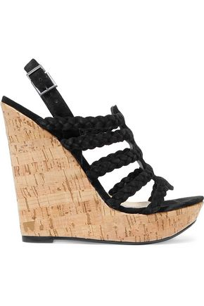 SCHUTZ Braided faux suede and cork wedge sandals