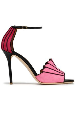 MALONE SOULIERS Color-block leather-trimmed suede pumps