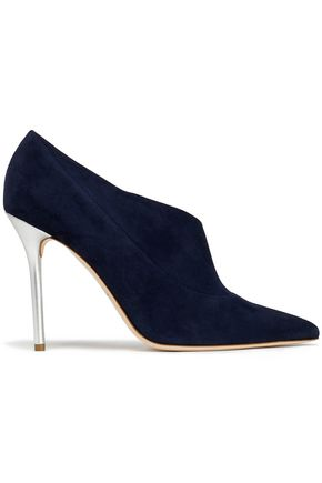 MALONE SOULIERS Metallic leather and suede pumps