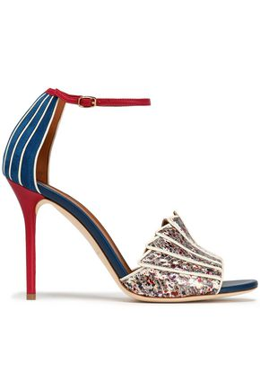 MALONE SOULIERS Suede, smooth and printed snake-effect leather pumps