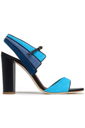 MALONE SOULIERS Leather and color-block suede sandals