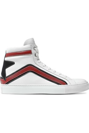 BELSTAFF Appliquéd leather high-top sneakers