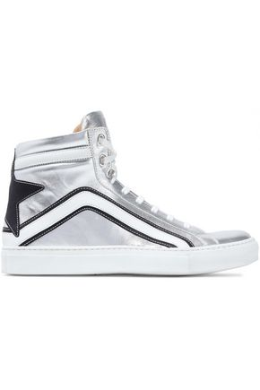 BELSTAFF Dillion appliquéd metallic leather sneakers