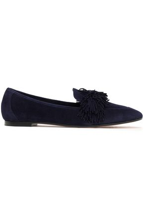 AQUAZZURA Fringed suede loafers