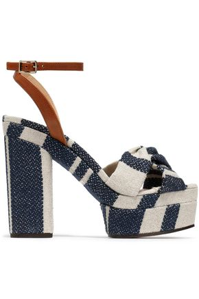 CASTAÑER Amaia striped linen and leather platform sandals