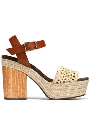 CASTAÑER Mia leather and raffia platform sandals
