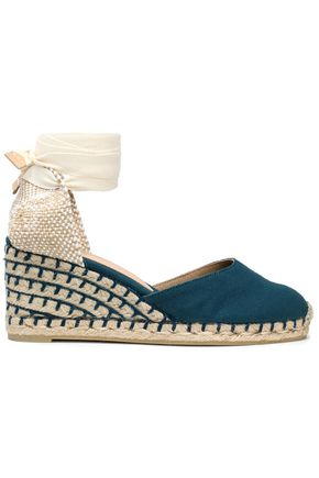 CASTAÑER Lace-up canvas wedge espadrilles