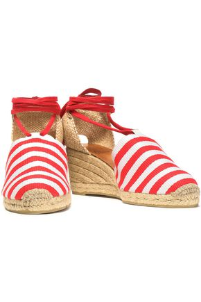 CASTAÑER Woven and striped canvas wedge espadrilles