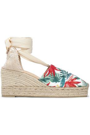 CASTAÑER Lace-up printed canvas platform wedge espadrilles