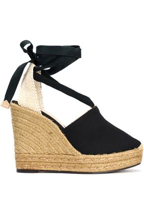 CASTAÑER Nerea basketweave and canvas wedge espadrilles