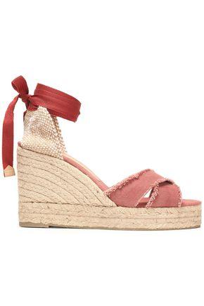 CASTAÑER Lace-up frayed canvas espadrille wedge sandals