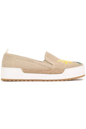CASTAÑER Embroidered canvas slippers