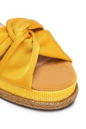 CASTAÑER Twisted satin and suede platform sandals