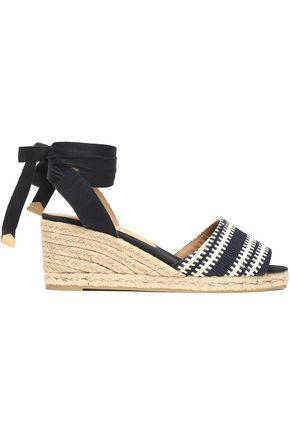 CASTAÑER Lace-up woven espadrille wedge sandals