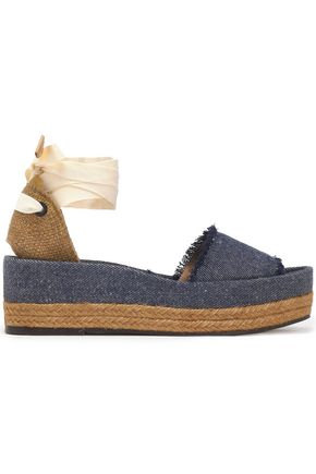 CASTAÑER Estela woven canvas and frayed denim platform sandals