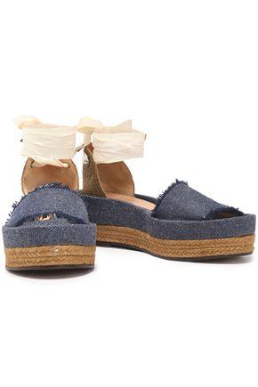 CASTAÑER Estela woven canvas and frayed denim platform sandals