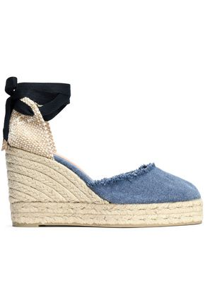 CASTAÑER Woven and denim wedge espadrilles