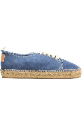 CASTAÑER Kosario appliquéd frayed canvas sneakers