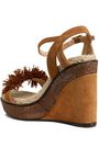 CASTAÑER Pompom-embellished suede wedge sandals