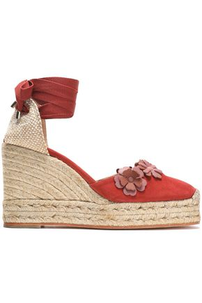 CASTAÑER Cariel basketweave and floral-appliquéd suede wedge espadrilles