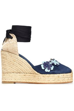 CASTAÑER Woven and floral-appliquéd suede wedge espadrilles