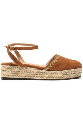 CASTAÑER Elena embroidered suede espadrille platform sandals