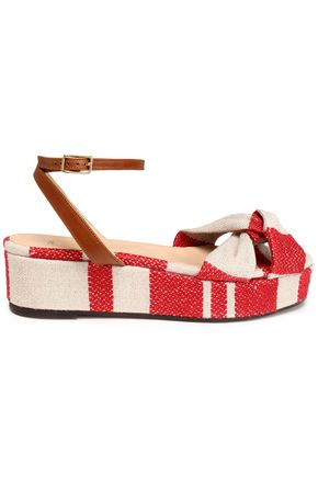 CASTAÑER Angela leather-trimmed striped canvas platform sandals
