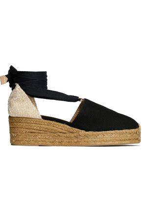 CASTAÑER Campina basketweave and canvas wedge espadrilles