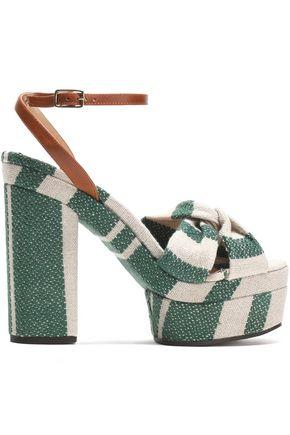 CASTAÑER Amaia striped linen and leather platform sandals