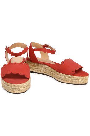 CASTAÑER Ana scalloped suede espadrille platform sandals