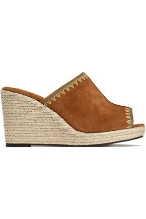 CASTAÑER Embroidered suede espadrille wedge mules