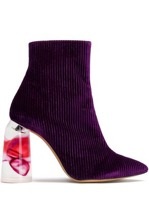 ELLERY Corduroy and Perspex ankle boots