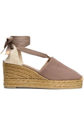 CASTAÑER Woven and canvas wedge espadrilles