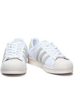 ADIDAS ORIGINALS Suede-trimmed perforated leather sneakers