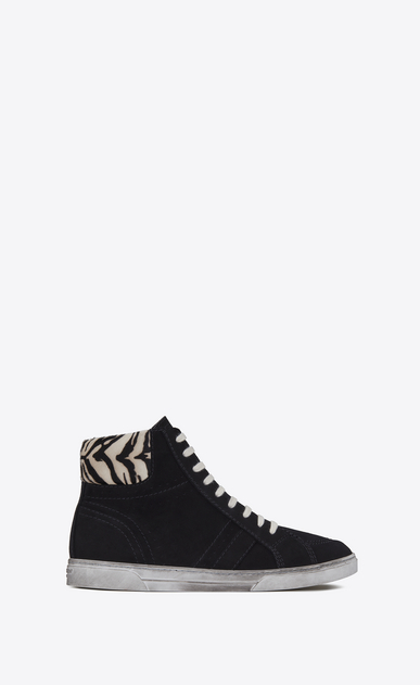 SAINT LAURENT High top sneakers Man mid-high joe sneaker in black suede and black and white calfskin a_V4