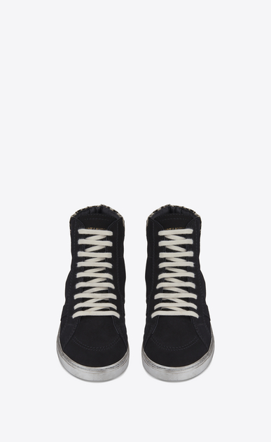 SAINT LAURENT High top sneakers Man mid-high joe sneaker in black suede and black and white calfskin b_V4