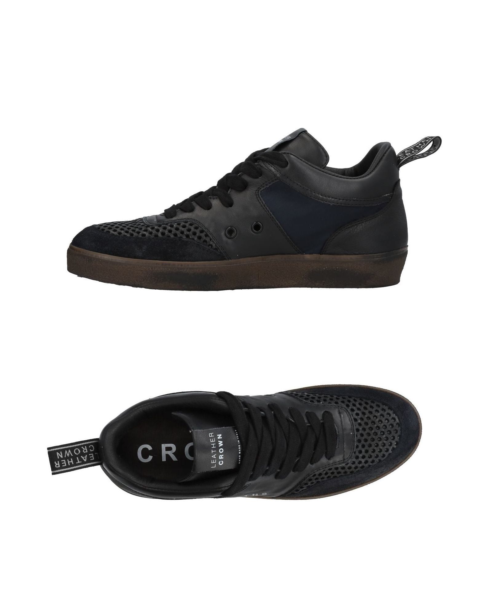 《送料無料》LEATHER CROWN メンズ スニーカー&テニスシューズ(ローカット) ブラック 40 革 / 紡績繊維