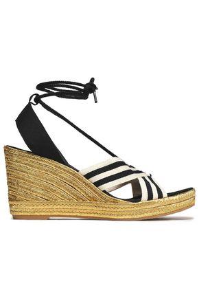 MARC JACOBS Striped grosgrain wedge espadrille sandals