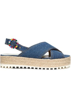 MARC JACOBS Denim platform espadrille sandals