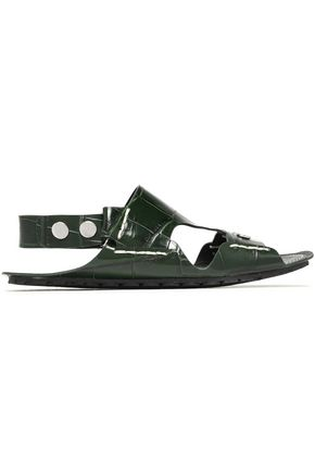 JOSEPH Cutout croc-effect leather slingback sandals
