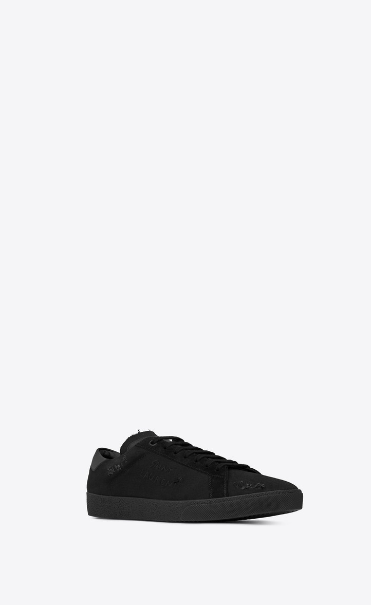 a50046afd1f5 Saint Laurent Court Classic Sl 06 Embroidered Sneakers In Fabric ...