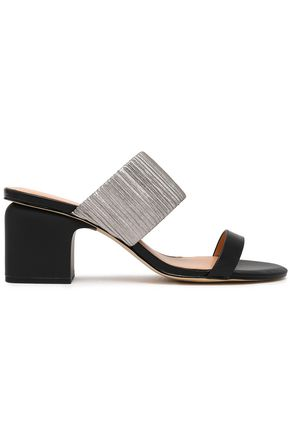 HALSTON HERITAGE Kimberly metallic elastic and leather sandals