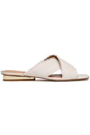 HALSTON HERITAGE Estella frayed basketweave canvas slides