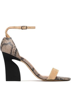 HALSTON HERITAGE Snake-effect leather and suede sandals