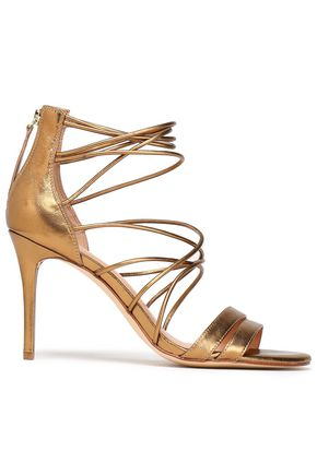 HALSTON HERITAGE Metallic leather sandals