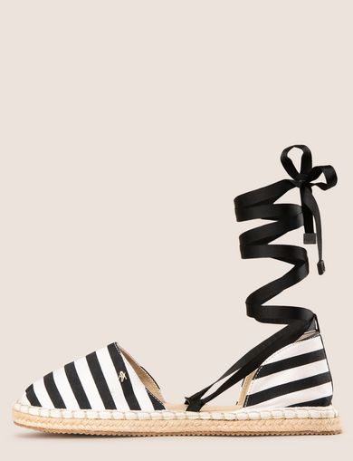 LACE-UP STRIPED CANVAS ESPADRILLE