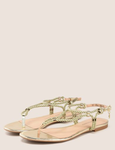 METALLIC CORD STRAPPY SANDALS
